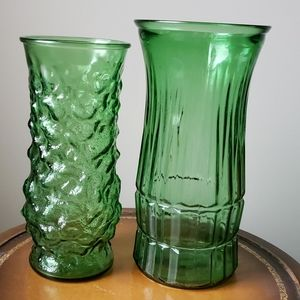 2 Vintage E.O. Brody green glass vases